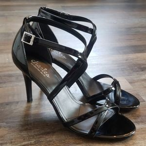 Charles David black Patten leather sandals size 8